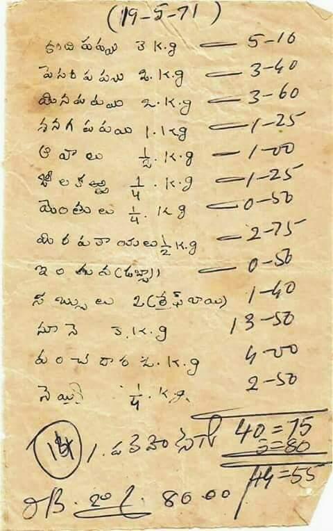 ఇవిగో 1971 లో రేట్లు 2017 లో రేట్లు డిఫరెన్స్ కిరాణాకి చూసారా